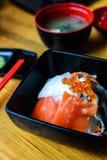 Bowl of Japanese mix sashimi don on rice Stock Photography