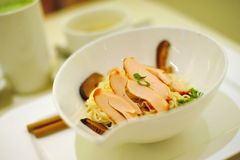 Bowl of Japanese somen. With slices of smoked chicken Stock Images