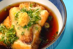 Bowl of japanese tofu and miso broth soup Royalty Free Stock Image