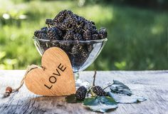 Bowl of juicy ripe mulberry. Picking berries. Summer berries. Black berries. Bowl of juicy ripe mulberry. Picking berries. Summer berries. wooden heart stock photos