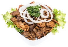 Bowl with Kebab meat topped with Onions Royalty Free Stock Image