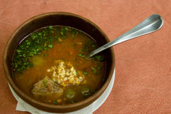 Bowl of kharcho soup Stock Image