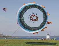 Kite Flying. Huge Bowl Kite flies in Portland, Maine Royalty Free Stock Photography