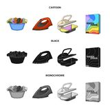 A bowl with laundry, iron, ironing press, washing powder. Dry cleaning set collection icons in cartoon,black,monochrome. Style vector symbol stock illustration Stock Photo