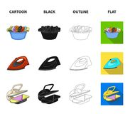 A bowl with laundry, iron, ironing press, washing powder. Dry cleaning set collection icons in cartoon,black,outline. Flat style vector symbol stock Royalty Free Stock Photos