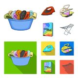 A bowl with laundry, iron, ironing press, washing powder. Dry cleaning set collection icons in cartoon,flat style vector. Symbol stock illustration Royalty Free Stock Images