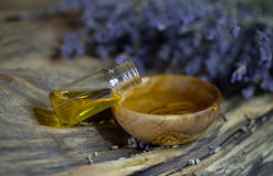 Bowl of lavender essence Stock Image