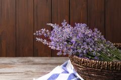 Bowl with lavender flowers stock image