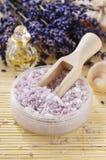 Bowl of lavender sea salt Royalty Free Stock Photos