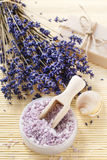 Bowl of lavender sea salt Stock Image