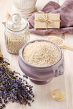 Bowl of lavender sea salt Stock Photography