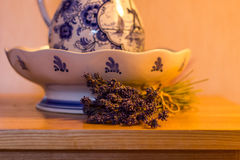 Bowl and Lavender Stock Photography