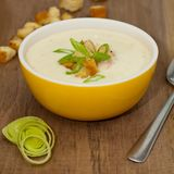Bowl of Leek and Potato soup Royalty Free Stock Photography
