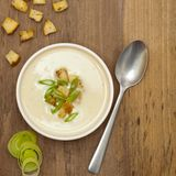 Bowl of Leek and Potato soup Stock Photos