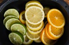 Bowl with lemon, lime and orange Royalty Free Stock Image