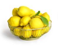 Bowl of lemons  isolated on white Stock Photo