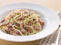 Bowl of Linguini Carbonara Stock Photos