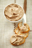 Bowl of liver pate and bread Royalty Free Stock Images