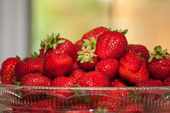 Bowl of local Ontario strawberries Royalty Free Stock Photos
