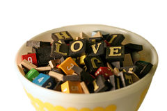 Bowl of Love. Bowl of random letters with the word 'love' spelled out royalty free stock images