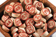 Bowl of lucky round wooden bingo numbers Stock Image