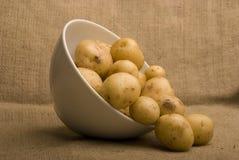 Bowl of m peer potatoes on sack Royalty Free Stock Images