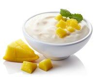 Bowl of mango yogurt. Isolated on white background stock image