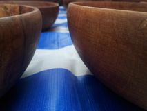 Bowl. Many wooden bowls were prepared to sell Stock Images