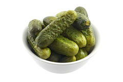 Bowl with marinated cucumbers Royalty Free Stock Photos
