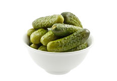 Bowl with marinated cucumbers Royalty Free Stock Images