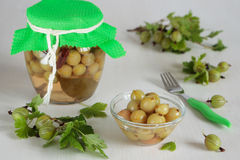 Bowl with marinated  gooseberries Royalty Free Stock Images