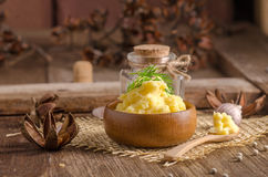 bowl of mash potato on wooden table Royalty Free Stock Image