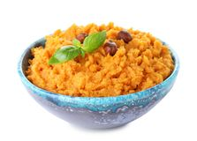 Bowl with mashed sweet potatoes on white. Background stock photos