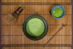 Bowl of Matcha. With a Chasen and a Chashaku royalty free stock photo