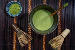 Bowl of Matcha. With a Chasen and a Chashaku royalty free stock photography