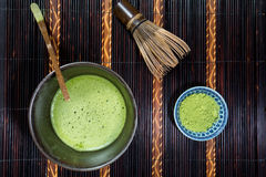 Bowl of Matcha. With a Chasen and a Chashaku stock photos