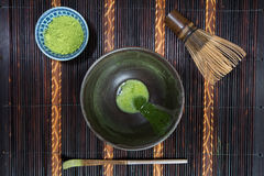 Bowl of Matcha. With a Chasen and a Chashaku stock photography