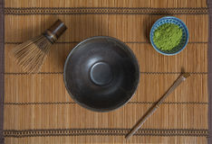 Bowl of Matcha. With a Chasen and a Chashaku royalty free stock images