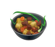 Bowl of meat and potato. Vector illustration of a bowl of meat and potato Stock Photography