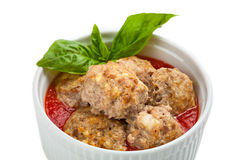 Bowl of meatballs with tomato sauce Stock Image