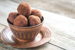 Bowl of meatballs on the wooden background Stock Photos