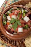 Bowl of mexican salsa with chips stock photography