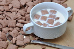 Bowl of milk and breakfast crunchy Royalty Free Stock Photography