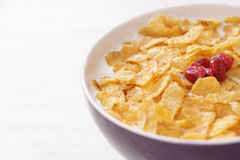 Bowl of milk with corn flakes and cranberries Stock Photo