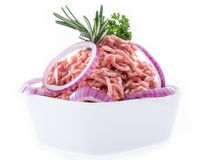 Bowl with Minced Meat on white Stock Photos