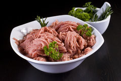 Bowl of minced pork Stock Photos