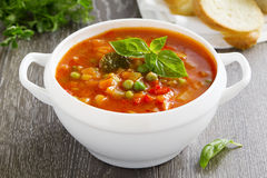 Bowl of minestrone soup. With bread Stock Image
