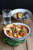 Bowl of Minestrone Soup with Pasta, Beans and Vegetables. Homemade Minestrone Soup with Pasta, Beans and Vegetables Stock Image