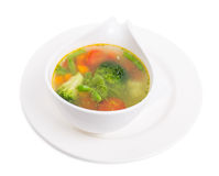 Bowl of minestrone soup with pesto. Stock Photo