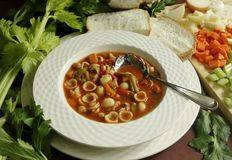 Bowl of Minestrone Soup. Stock Photography